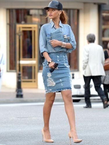 style denim skirt